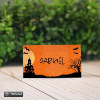 Halloween Place Cards / Tent Cards, Haunted House Party Decor  Name