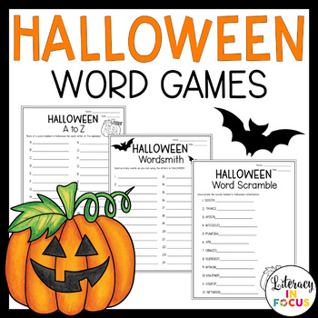 Halloween Activities - 3 Different Word Games by Literacy in Focus