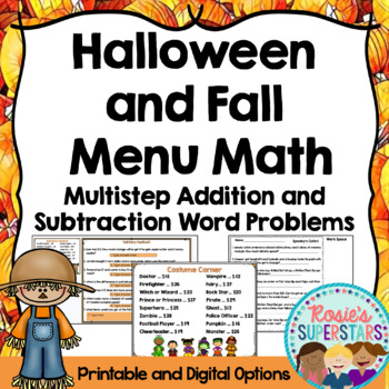 Halloween and Fall Math Multistep Addition and Subtraction Word