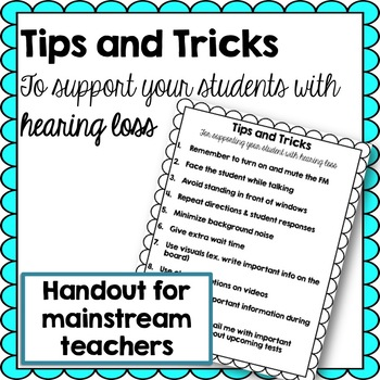 Handout for Teachers Tips and Tricks for Deaf or Hard of Hearing