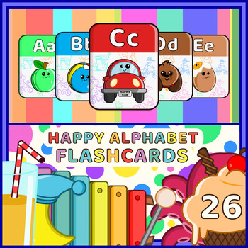 Happy Alphabet Flashcards - Funky Edition 26 nos by Happy Art Education