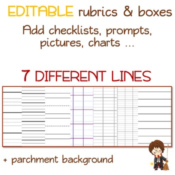 Harry lined WRITING PAPER with EDITABLE rubrics and text boxes by - editable lined paper