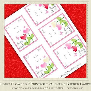 Heart Flowers 2 Printable Valentine Sucker Cards by MarloDee Designs