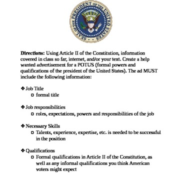 Help Wanted Powers of the President Assignment TpT
