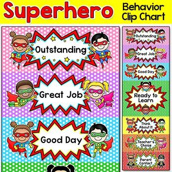 Superhero Theme Behavior Clip Chart - Classroom Management