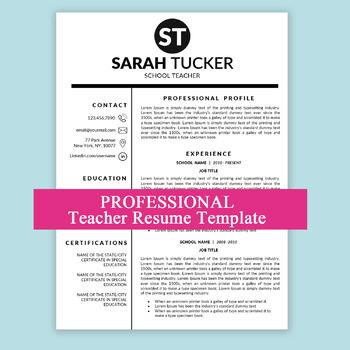 Resume Template Principal, Teaching, Teacher Resume MS Word
