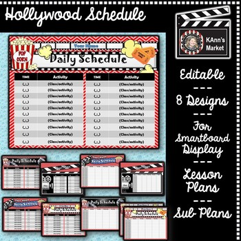 Hollywood Daily Schedule Template! Cute  Fun! Update Throughout