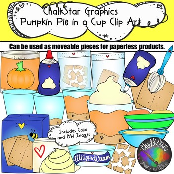 How to Make Pumpkin Pie in a Cup Clip Art- Chalkstar Graphics by
