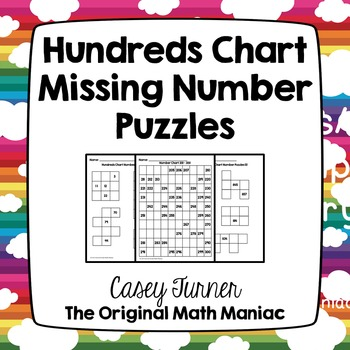 Hundreds Chart Missing Number Puzzles Numbers 101 - 999 TpT