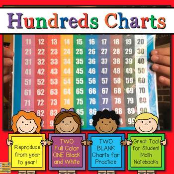Hundreds Chart 100 Chart by Page Protector Printables and More TpT