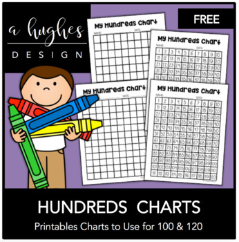 FREE Hundreds Chart Printables 100 and 120 {A Hughes Design} TpT - hundreds chart
