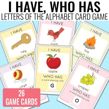 I Have, Who Has Alphabet Game Alphabet Cards by Easy Peasy Learners - alphabet card