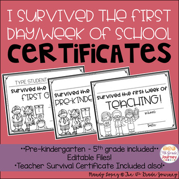 I survived the first day/week of school certificates EDITABLE! TpT
