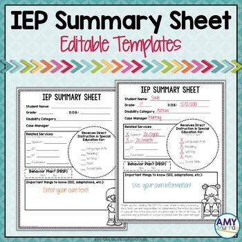IEP Summary Sheet Editable Templates TpT