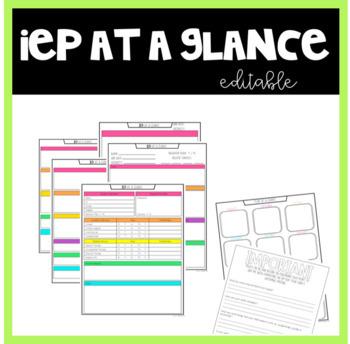 IEP at a Glance Editable by mrsspedtacular Teachers Pay Teachers