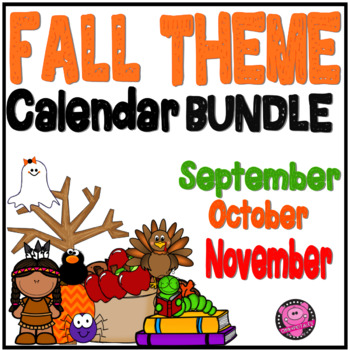 Fall Illustrated Calendar Numbers for Calendar Time by Oink4PIGTALES