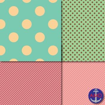 Ice Cream Party Quatrefoil, Chevron, Polka Dot  Striped Paper Pack