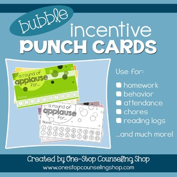 Behavior Incentive Punch Cards Bubble Design by One-Stop Counseling
