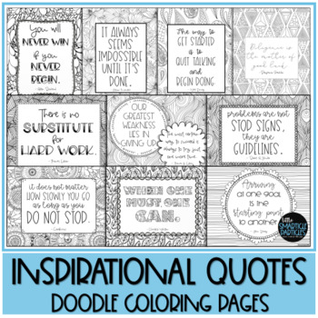 Growth Mindset Inspirational Quotes Doodle Coloring Pages TpT