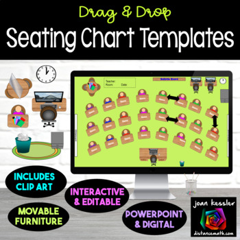 Interactive Classroom Seating Chart Planner with GOOGLE Slides™ TpT
