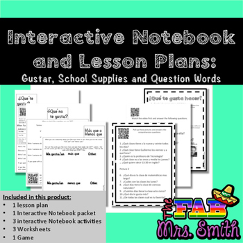 Interactive Spanish Notebook  Lesson Plan Gustar, School and - lesson plan words