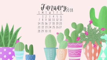 Cute Llama Wallpaper Desktop January 2018 Cactus Calendar Wallpaper By Taracotta