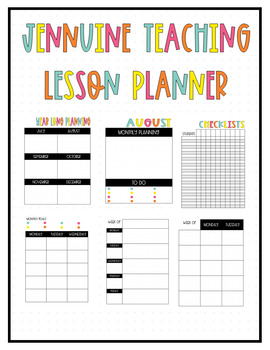 Jennuine Teacher Lesson Planner {EDITABLE and LIFETIME UPDATES} TpT