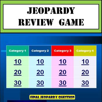 Jeopardy Review Game Template - Great for Test Preparation TpT - jeopardy game template