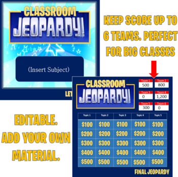 Jeopardy Template (2 rounds) Keep score-up to 6 teams by Handy