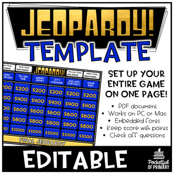 Jeopardy Template - Editable PDF PERSONAL USE by Pocketful of Primary