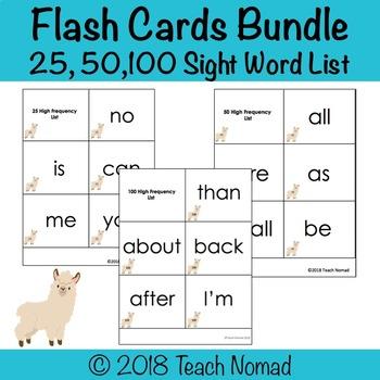 K-1 Sight Word Flash Card Bundle by Teach Nomad TpT