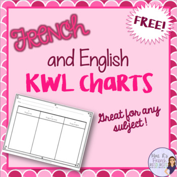 KWL charts - in English and in French - FREE by Mme R\u0027s French Resources