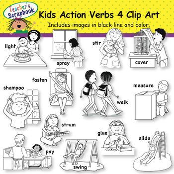 Kids Action Verbs 4 Clip Art by TeachersScrapbook TpT