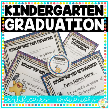 Kindergarten Graduation Certificates  Invitations (Editable) with