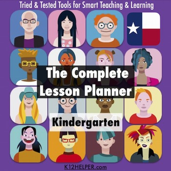 Lesson Plan Template Kindergarten All Subjects w/ all Texas TEKS - teks lesson plan template