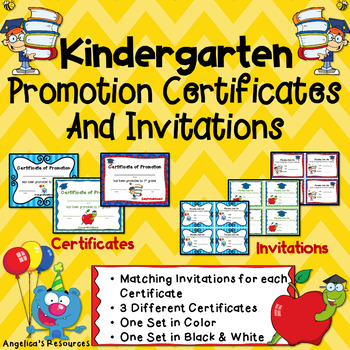 End of the Year Awards Kindergarten Diploma Promotion Certificate   Invitations