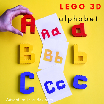 LEGO 3D Alphabet Printable Cards Uppercase and Lowercase Letters