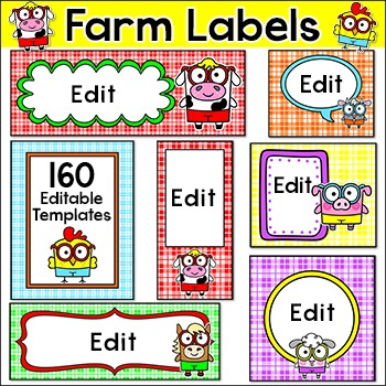 Farm Theme Labels for Signs, Classroom Jobs, Teacher Binders, Name