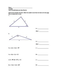 Law of Sines and Cosines Practice Worksheet with answer