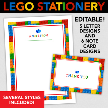 Lego Printable Stationery - 5 Letter Sized  6 Note Cards Designs