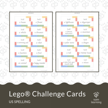 Lego® challenge cards (US spelling) STEM activity by Suen Learning