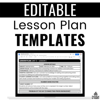 Formal Lesson Plan Templates EDITABLE by Pocketful of Primary TpT