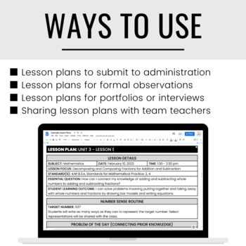 Formal Lesson Plan Templates EDITABLE by Pocketful of Primary TpT - lesson plan formats