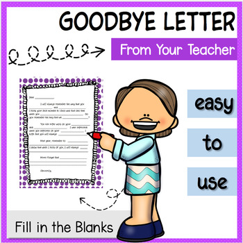 Letter Template From Teacher to Students End of Year Goodbye TpT - letter to students from teacher