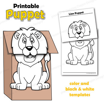 Puppet Lion Craft Activity Printable Paper Bag Puppet Template