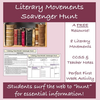 Back to School Literary Movements Scavenger Hunt A FREE Web Quest