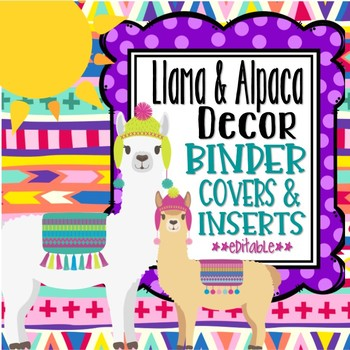 Llama  Alpaca Themed Binder Covers and Inserts *editable* TpT