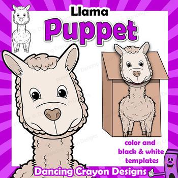 Llama Craft Activity Paper Bag Puppet Template by Dancing Crayon