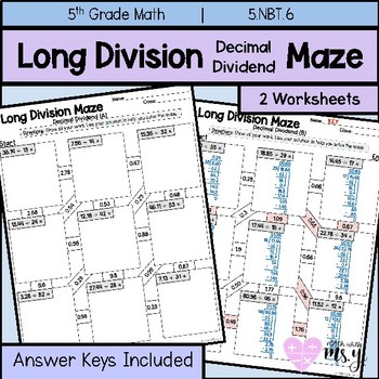 Long Division Decimal Dividend Maze Practice by Math With Ms Yi TpT