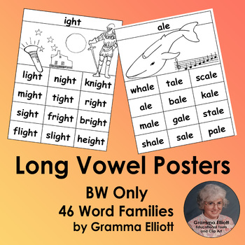 Long Vowel Rhyming Word Family Posters for 46 word families in BW